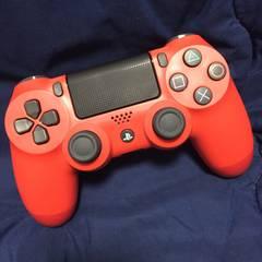 美品 新型デュアルショック4 PS4コントローラー マグマレッド