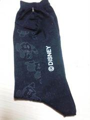 ミッキーロゴ☆カワイイ靴下☆ブラック 23〜25cm