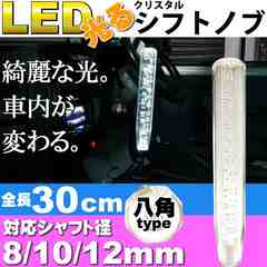 光るクリスタルシフトノブ八角30cm透明 径8/10/12mm対応 as1475