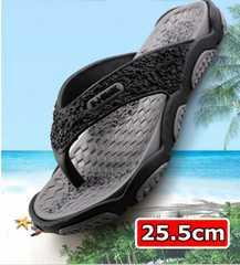 【新品】 軽量フラット ラバーソール ビーチ サンダル 灰 25.5cm