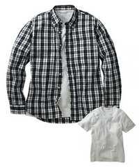 4Lサイズ高貴紳士的!チェック!濃紺!長袖シャツand半袖!白Tシャツ!セット!新品!