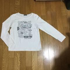 U.N.S 長袖Tシャツ L ラメ付き英文字スパンコールハート