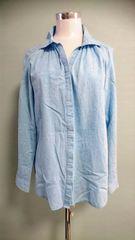 タンガリー スキッパーシャツ L 長袖 チュニック ゆったり 体型カバー 着回し抜群