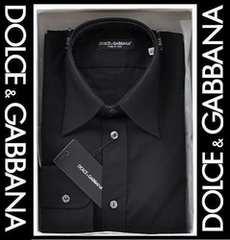 ドルガバ ドゥエボットーニ メンズドレスシャツ ブラック 38/S 29400円 本物 新品