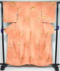 千鳥872*代赭色 雲取り 刺繍花柄 小紋 美品