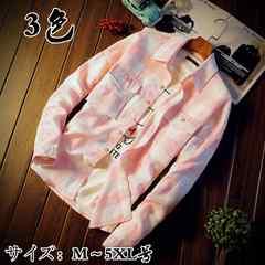 メンズチェック柄  カジュアルシャツ 大きいサイズ春秋 17MCS12