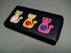 ラスト1個【即決】可愛いネコちゃん^^長財布 新品 黒