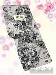 【和の志】女性用綿麻浴衣◇Fサイズ◇生成・古典柄◇MAF-21