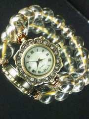 ★天然石使用★シャンパンオーラ★ブレスレット調★腕時計★
