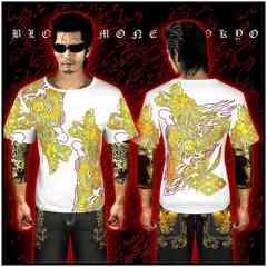 送料無料ヤクザ&悪羅悪羅系/オラオラ系昇り龍柄半袖Tシャツ服/14001白-2XL