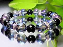 蒼と黒の色合い天然石◆アクアオーラブルー・オニキス黒瑪瑙AAA