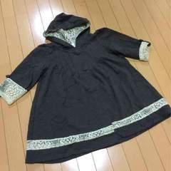 新品◆七分袖フレアーパーカージャケット◆カギ編レース