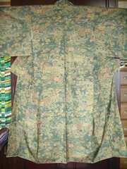流水に松竹梅菊紋様の 袷の紬のお着物
