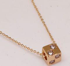 18KRGPゴールドCZミニ立方体ネックレスpn3748