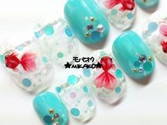 ★MIKAKO★爽やかラメ丸ホロブルー金魚ネイル・ショート(339)