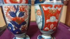 明治期伊万里赤絵枠取りコップ…2個…窯印