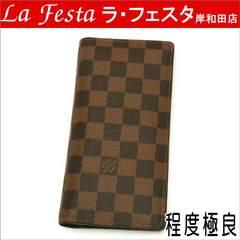 本物美品◆ルイヴィトン【人気】ダミエ2つ折り長財布ブラザ/箱