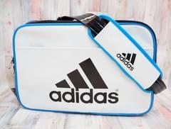 adidas アディダス エナメルバッグ ショルダーバッグ M 白黒青