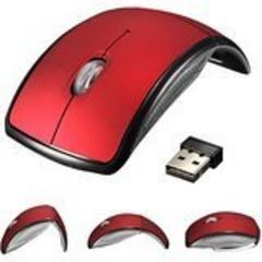 ☆折り畳み式光学無線式マウス ワイヤレスレーザー レッド