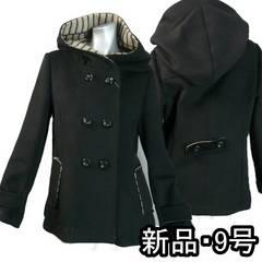 【新品★M】ダブルフェースのフーデットコート★黒(i