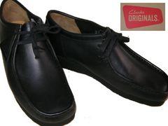 クラークス新品ワラビー ローカット ブーツ黒26103756uk6.5