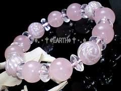 天然石★10ミリ薔薇彫ローズクォーツAAA&ローズクォーツ数珠