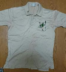 ゴルファーの刺繍がかわいい ベージュポロシャツ オーバーサイズ