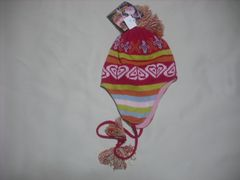 wb533 ROXY ロキシー 耳当て付き ニット帽 柄 赤