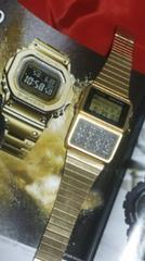 CASIO魂データバンクDBC-610デジタル腕時計ゴールドメタルバンド
