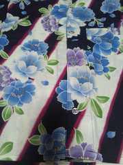 ☆処分品新品=紺白×桜柄ダボシャツ120