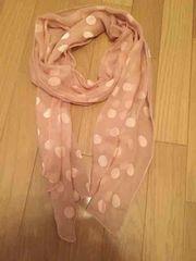 水玉 透けロングスカーフ ピンク