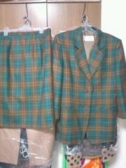 ミセス→ワールドCORDIER緑茶ウールジャケットスカートスーツL