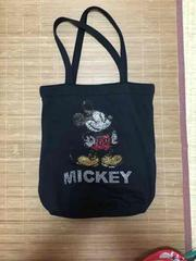 ミッキーマウス&ロゴスタッズ付スウェット素材トートバッグ