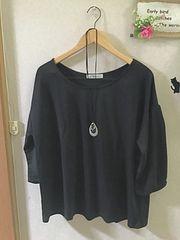 4L 未使用バルーン七分袖の丸首黒カットソー