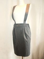 【CYNICAL】【未使用品】グレーストライプサスペンダースカート