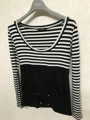 リエンダ/rienda ボーダー切替カットソー 黒×白 フリー ポケット付き