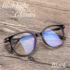 ボストン メガネ ブルーライトカット 伊達眼鏡 丸型 UVカット 黒