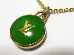 本物.ルイ.ヴィトン.世界最高シンボル.LVロゴ.エメラルドグリーン&ゴールドカラーネックレス