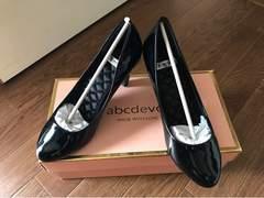 新品 abcdevol イーボル エナメル 黒 パンプス 靴 レディース 23