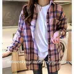 LL大きいサイズ/チェックシャツ/ピンク