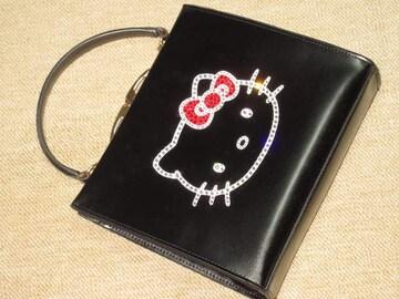 本革製スクエアハンドバッグ*ハローキティスワロデコ(黒)