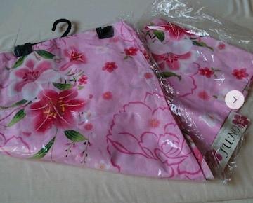 送料込み!新品、フリーサイズ、綿ゆかた、ピンク柄