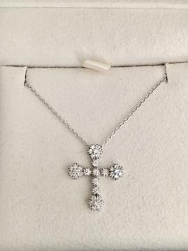 スタージュエリー ダイヤモンド ネックレス K18WG 0.24ct 3.8g