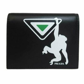 PRADA 1MV204-2CC7-F070E モンキーモチーフプリント 折財布