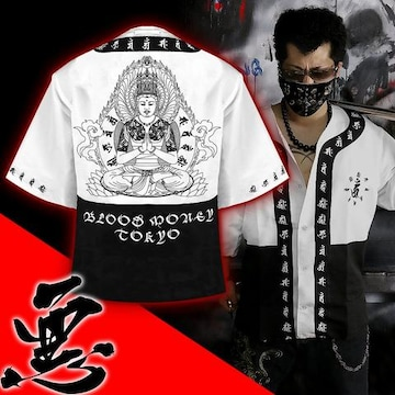 送料無料/ヤンキーチンピラオラオラ系和柄ベースボールシャツ/B系HIPHOP服15005-XL