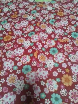 ☆処分品新品=赤×桜柄=ダボシャツ120