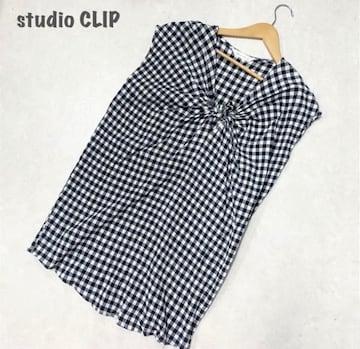 【studio CLIP】チェックブラウス ブラック スタディオクリップ