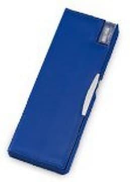 合成皮革製 鉛筆削り付両開筆入 ペンケース 筆箱 (ネイビー)