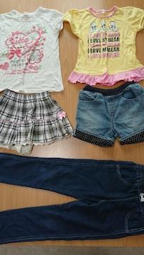 女の子洋服120cmまとめ売り☆ズボン2枚☆Tシャツ2枚☆スカートパンツ1枚