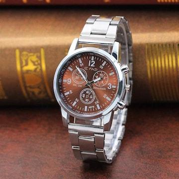 今回限りお試し価格★高級感ありお洒落なブラウン腕時計